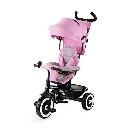 Kinderkraft Triciclo Evolutivo ASTON, Cabina desplegable, Cinturón, 9 Meses a 5 Años, Rosa*
