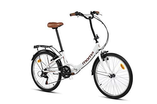 Moma Bikes Bicicleta Plegable Urbana SHIMANO TOP CLASS 24' Alu, 6V. Sillin Confort,Blanco