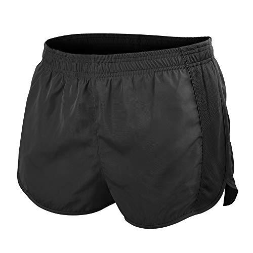 Muscle Alive Hombres Deportes Running 1' Élite División Corriendo Pantalones Cortos con Lado Malla Panel Rápido Seco Shorts Negro M