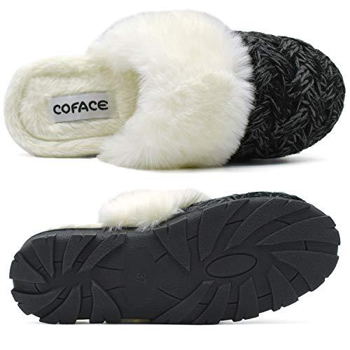 COFACE Zapatillas De casa para Mujer Invierno Pantuflas de Forro de Felpa Cálidas de Punto de Lana Zapatos de Espuma Viscoelástica de Alta Densidad con Suela de Goma Antideslizante Talla 40