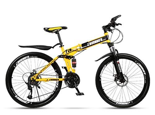 Bicicleta montaña plegable para adultos cuadro acero alto carbono bicicleta montaña 26 pulgadas...*