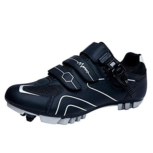 Zapatillas de Bicicleta de Montaña Antideslizantes para Hombre Mujer Zapatillas de Ciclismo MTB Transpirables Zapatillas de Carreras Profesionales SPD con Autobloqueo Black Grey-235