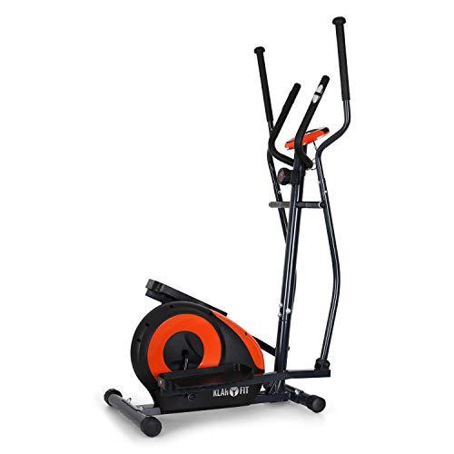 KLAR FIT Klarfit Ellifit FX 250 - Bicicleta de Cardio elíptica, 8 resistencias, Ordenador de Entrenamiento, Pulsómetro, Soportes Antideslizantes, hasta 110 kg, Set de Montaje, Naranja Oscuro