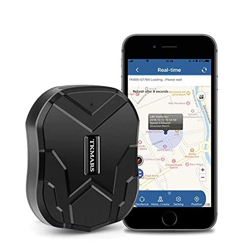 Localizador GPS para Coche, GPS Coche en Tiempo Real Impermeable Rastreador GPS,Fuerte Imán GPS Tracker para Vehículos con Gratis App TK905