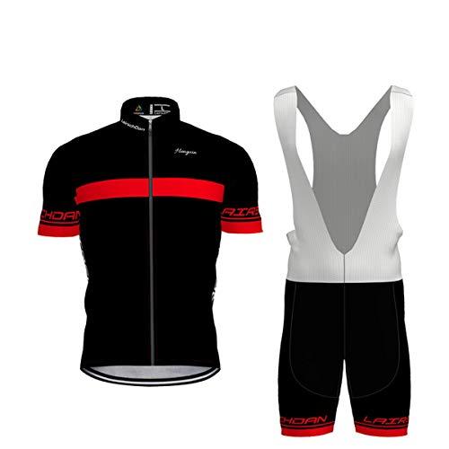 Hengxin Maillot Ciclismo Corto De Verano para Hombre, Ropa Culote Conjunto Traje Culotte Deportivo con 9D Almohadilla De Gel para Bicicleta MTB Ciclista Bici (Rojo, M)