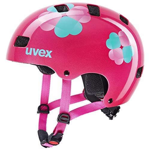 uvex Kid 3 Casco de Bicicleta, Unisex-Youth, Pink Flower, 55-58 cm