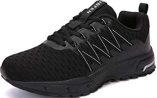 SOLLOMENSI Zapatillas de Deporte Hombres Mujer Running Zapatos para Correr Gimnasio Sneakers Deportivas Padel Transpirables Casual Montaña 39 EU H Negro