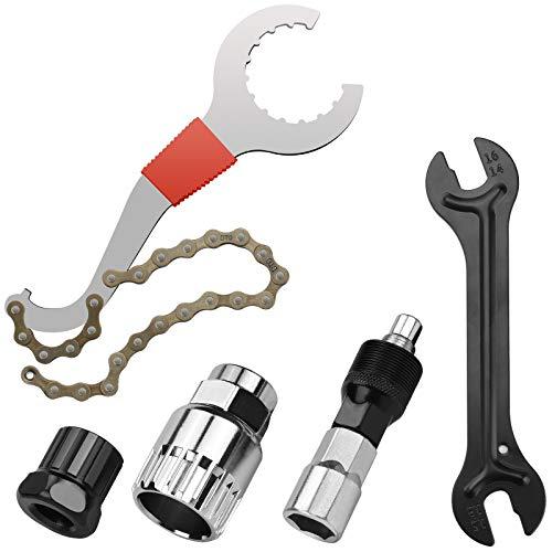 Herramientas para la Reparación de Bicicletas Herramienta de Extracción de Cassette Extractor de Pedalier/Extractor de Manivela/Llave eje Pedalier/Látigo de Cadena/Removedor de Cassette de Rueda Libre