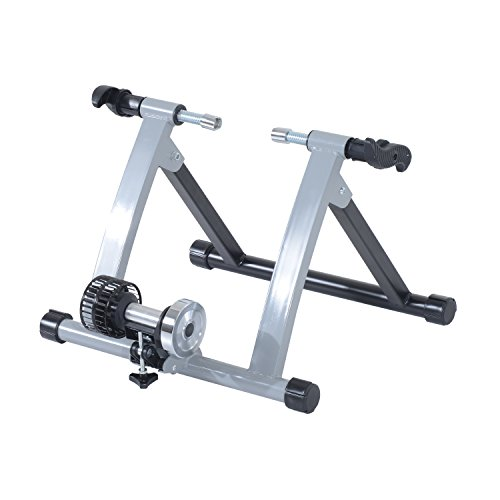 HOMCOM Rodillo de Entrenamiento Magnético para Bicicleta Cicloentrenador Plegable 54,5x47,2x39,1cm Plata y Negro