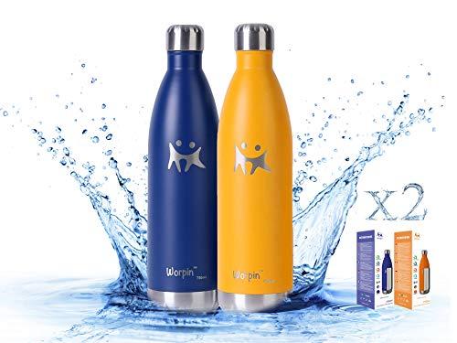 WORPIN, Pack 2 Botellas Termo de Agua de Acero Inoxidable 500/750ml. Térmica Doble Pared Aislante, Fácil de Limpiar Camping, Deportes Colegio (750ml, Pack 2 Azul M.Naran)
