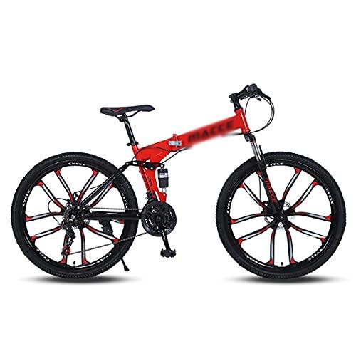 Bicicleta Montaña Bicicleta De Montaña Con Marco De Acero De Alto Contenido De Carbono 26 En Rueda Con Freno De Disco Doble Y Bicicletas De Suspensión Delantera Para Niños Par(Size:24 Speed,Color:Red)