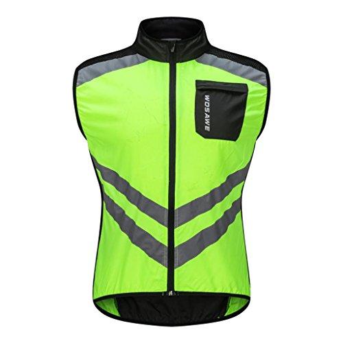 Homyl Chaleco cortavientos sin mangas deportivo para ciclismo, running, deporte, cómodo, ropa deportiva Verde M