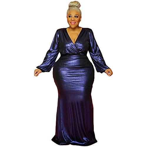 YANFANG Vestido Talla Grande Mujer,Vestido De Gran TamañO Manga Larga con Hombros Descubiertos Y para Mujer,Vestidos Mujer 2021,Vestido Largo Sexy,Vestido Verano Playa Mujer,2-Azul Oscuro,S