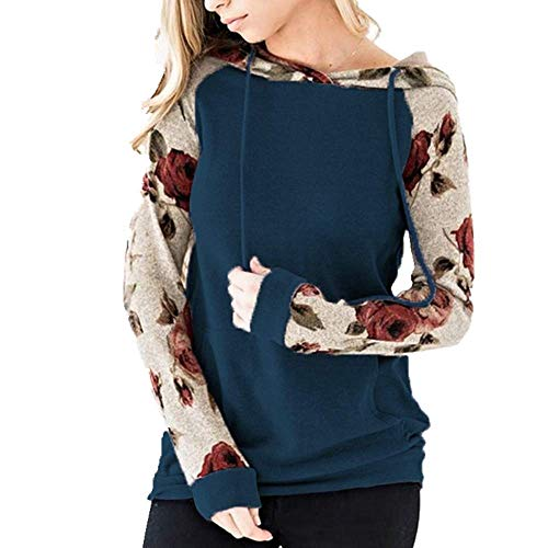 U/A Suéter de manga larga con doble capucha y cordón para mujer, color sólido, con bolsillo