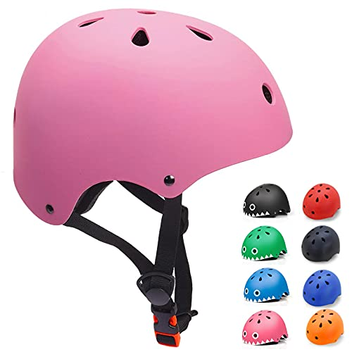 KORIMEFA Casco Bicicleta para Niños Casco Infantil Ajustable para Monopatín Patinaje BMX Esquiar, Casco para multibles Deportes niño niña de Edad de 3-13 años (Rosa, Small)