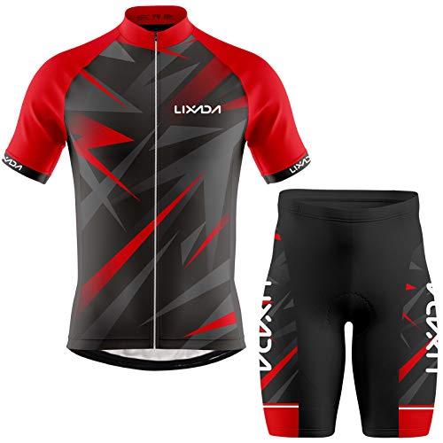 Lixada Ropa de Ciclismo para Hombre,Manga Corta Transpirable + Pantalones Cortos Acolchados,Traje de...*