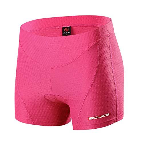 Souke Sports Pantalon Corto Ciclismo Mujer 4D Acolchado, Pantalones Corto Bicicleta Mujer,...*