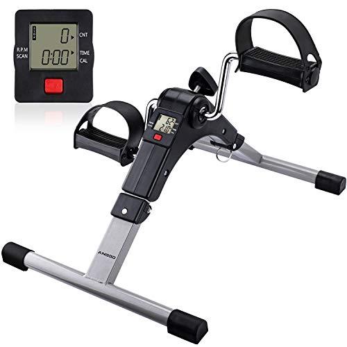 ANGGO Pedales Estaticos, Mini Bicicleta Estáticas Plegable Pedaleador con LCD Monitor y Resistencia...*