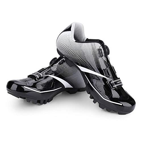 Dioche Zapatillas de Bicicleta de Montaña, 1 Par de Bicicletas Transpirables Sistema Antideslizante de Bicicletas SPD Zapatillas de Ciclismo Hombres Adultos(43-Negro)