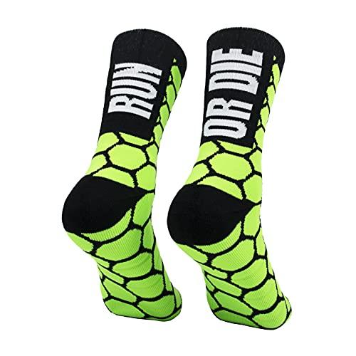 PERRO LOCO CLOTHES Calcetines compresivos de Running con Refuerzo en Puntera, prepuntera y talón. Edición Limitada. (Run OR Die Verde, 40-42)
