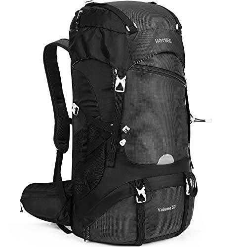 HOMIEE 50L Mochila Senderismo, Mochila de Montaña Multifuncional, Mochila al Aire Libre Impermeable, Adecuada para Trekking, Excursiones, Caminatas, Mochila de Viaje con Cubierta de Lluvia