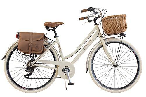 Via Veneto By Canellini Bicicleta Bici Citybike Ctb Mujer Vintage Retro Via Veneto Aluminio (Crema, 46)