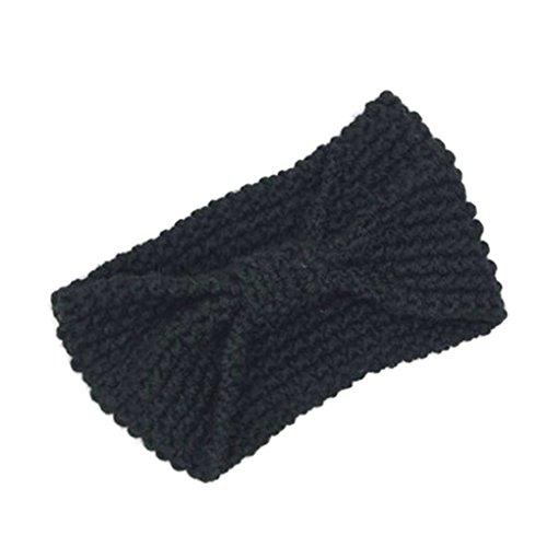 Elenxs Nueva Chica Accesorios para el Cabello de Moda Caliente del Invierno de Las Mujeres de Bowtie de Ganchillo Trenzado Gorro de Lana Cap Diadema Señora Pelo de la Venda Negro