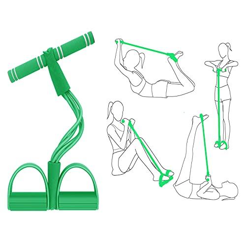 Aparatos para Hacer Ejercicio casa,Cinta Elastica Fitness, Multifuncion Cuerda Elástica de Tracción Banda de Resistencia de Pedal Cuerda de 4 Tubos de Pedal, Cuerda de Tensión, Expansor de Culturismo