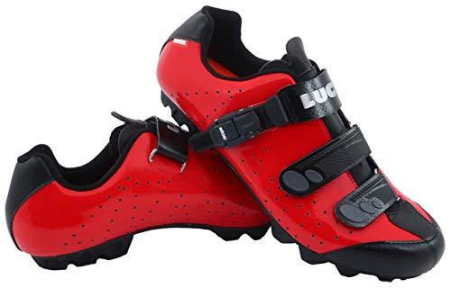 LUCK Zapatillas de Ciclismo MTB ODÍN con Suela de Carbono y Cierre milimétrico de precisión. (43 EU, Rojo)
