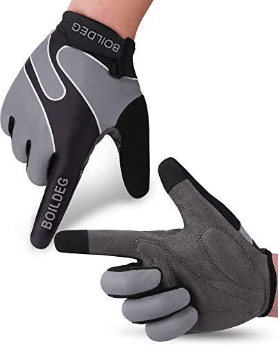 boildeg Guantes de Ciclismo,Guantes MTB,Antideslizante Pantalla Táctil,Tela Transpirable,Adecuado para Ciclismo de Montaña,Todo el Vehículo de Terreno,Bicicleta de Montaña (Gris, L)