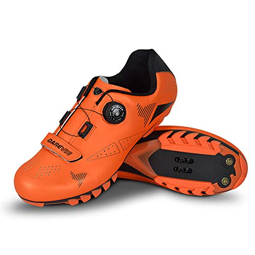 TTW Zapatillas Ciclismo SPD MTB para Hombre Zapatillas Bicicleta de Carretera Antideslizantes con Autobloqueo y Hebilla Giratoria Ajustable Zapatillas Ciclismo Ultraligeras Transpirables,Naranja,40
