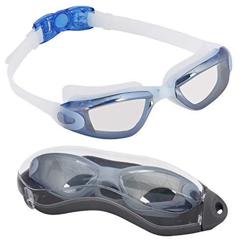 Bezzee Pro Gafas de Natación para Adultos - Lentes Espejo - Hermético - Ajustable - Gafas de Natación Para Adultos Con Visión De 180 Grados - Lo Mejor Para Hombres, Mujeres