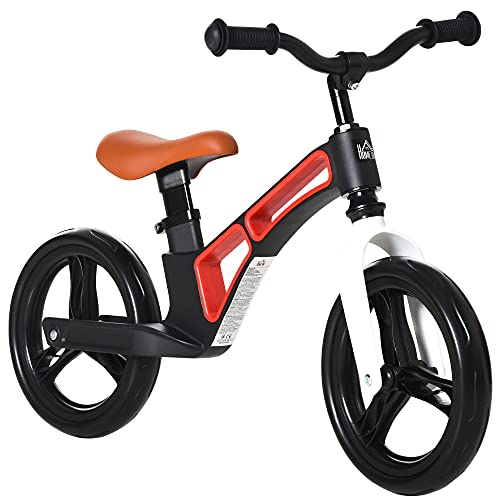 HOMCOM Bicicleta sin Pedales para Niños de 2 a 5 Años Bicicleta de Equilibrio Infantil con Sillín y Manillar Ajustables Ruedas de Goma 86x41x49-56 cm Negro