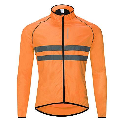 WOSAWE Hombres Ropa Ciclismo, Transpirable Chaqueta de Ciclismo Cortavientos Alta Visivilidad Chaleco Reflectante de MTB (BL215 Chaleco Naranja L)