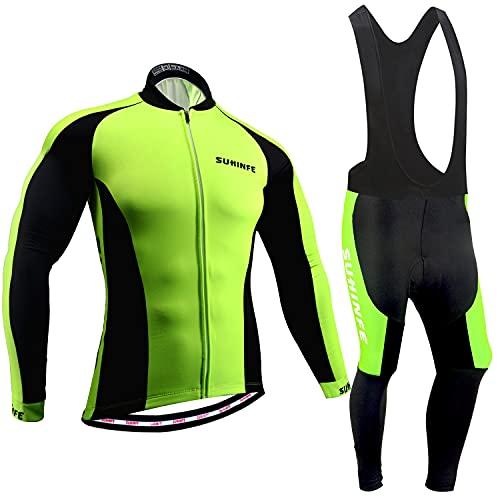 Maillot Ciclismo Hombre Invierno, Ropa Ciclismo Manga Larga Calor con Polar Térmico y Pantalones...*