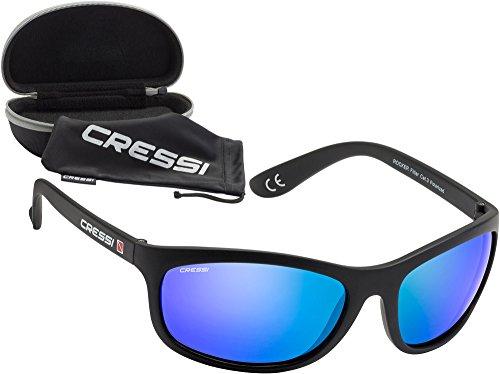 Cressi Rocker Gafas de Sol, Unisex Adulto, Negro/Lentes Reflejado Azul, Talla Única*