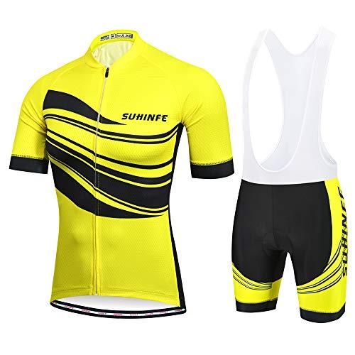 SUHINFE Ropa Ciclismo Hombre, Transpirable y de Secado rápido Maillot Ciclismo y Grueso Culotte Acolchado 5D para Verano