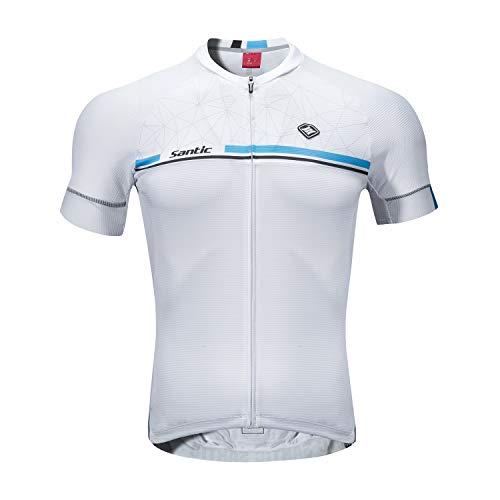 Santic Maillot Ciclismo Hombre Verano Maillot Bicicleta Montaña Bike MTB Camiseta con Mangas Cortas Blanco EU M