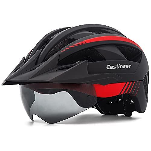 EASTINEAR Casco Bicicleta con Visera LED Luz Trasera Casco MTB para Adulto Hombre Mujer Casco Bicicleta Montana con Gafas Magnéticas Talla Ajustable 57-61 CM (Negro Rojo)