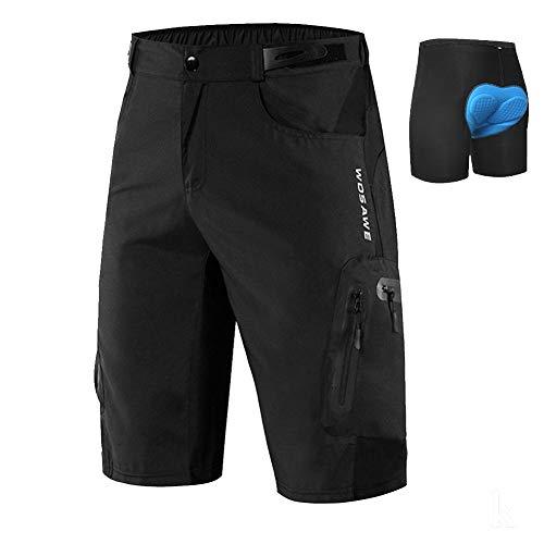Lilychan Hombres MTB Mountain Bike Short Secado Rápido Trabajo Ligero Golf Pantalones Cortos Casuales 7 Bolsillos Negro+Almohadilla, M