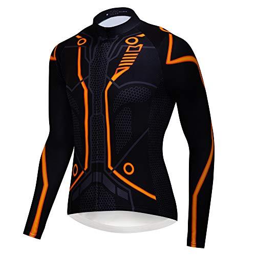 logas Maillot de ciclismo para hombre, manga larga, transpirable, con bolsillo y gel