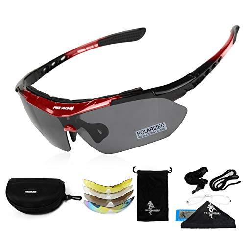 FREE SOLDIER Gafas Ciclismo Hombre Gafas tácticas Militares Gafas Motocross anti-UV400 Gafas de Sol polarizadas 5 en 1 para MTB Airsoft Correr, Pescar, Conducir, Deportes al Aire Libre(Rojo)