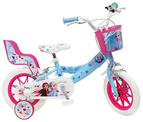 Disney - Bicicleta de 12 Pulgadas con 2 Frenos, Cesta Delantera y portamuñecas Trasera + 2...*