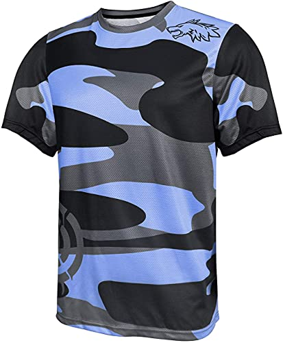 Maillot Ciclismo Hombre Camisetas De Manga Corta Bicicleta De Montaña/MTB Camiseta Transpirable Secado Rápido Ajuste Ceñido Correr Carreras Bicicleta Trajes Ropa (Azul,XL)