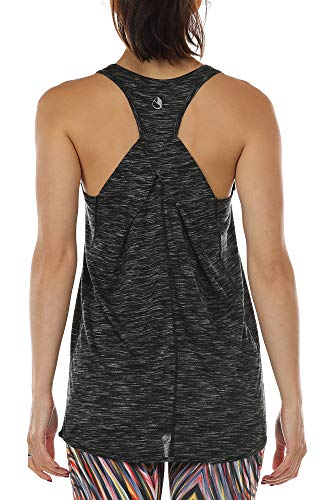 icyzone Camiseta sin Mangas de Suelta Racerback Fitness para Mujer para Yoga Correr -XL-Negro