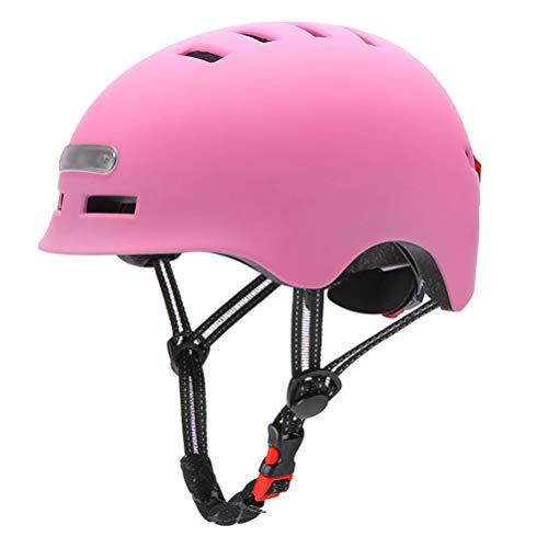 TangYang Casco de Ciclismo con luz LED, Casco de Bicicleta,Casco De Bicicleta De MontañA, Casco De Bicicleta para Adultos, Luz de Casco de patineta con Rueda de patineta eléctrica(Rosa L)