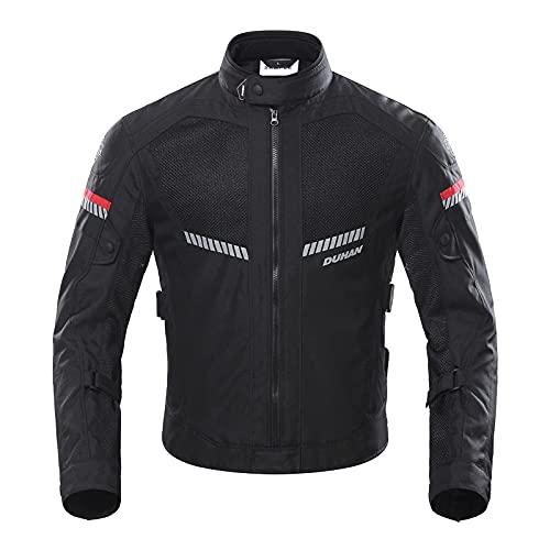 BORLENI Chaqueta de Motocicleta de Moto para Hombre, Respirable, Armadura Protección, reflexión de Alto Brillo, para Verano Primavera otoño M