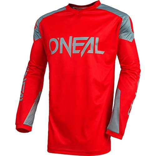 O'Neal | Jersey de Motocicleta | Enduro Motocross | Tejido Transpirable, máxima Libertad de Movimiento, Espalda extendida | Jersey Matrix Ridewear | Adultos | Rojo Gris | Talla L