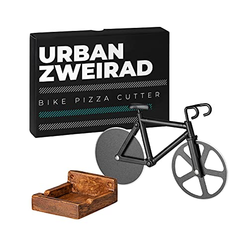 URBAN ZWEIRAD Cortador de pizza para bicicleta, incluye soporte magnético de pared, revestimiento antiadherente e inoxidable, ideal para regalar en bicicleta