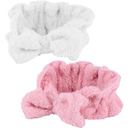 Minkissy 2 unidades de cintas para la frente, para cosméticos, para la ducha, elásticas, para la frente, con lazo suave, para niñas, mujeres, yoga, deporte, color rosa y blanco